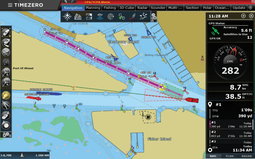 Screenshot Anzeige Karte Timezero App