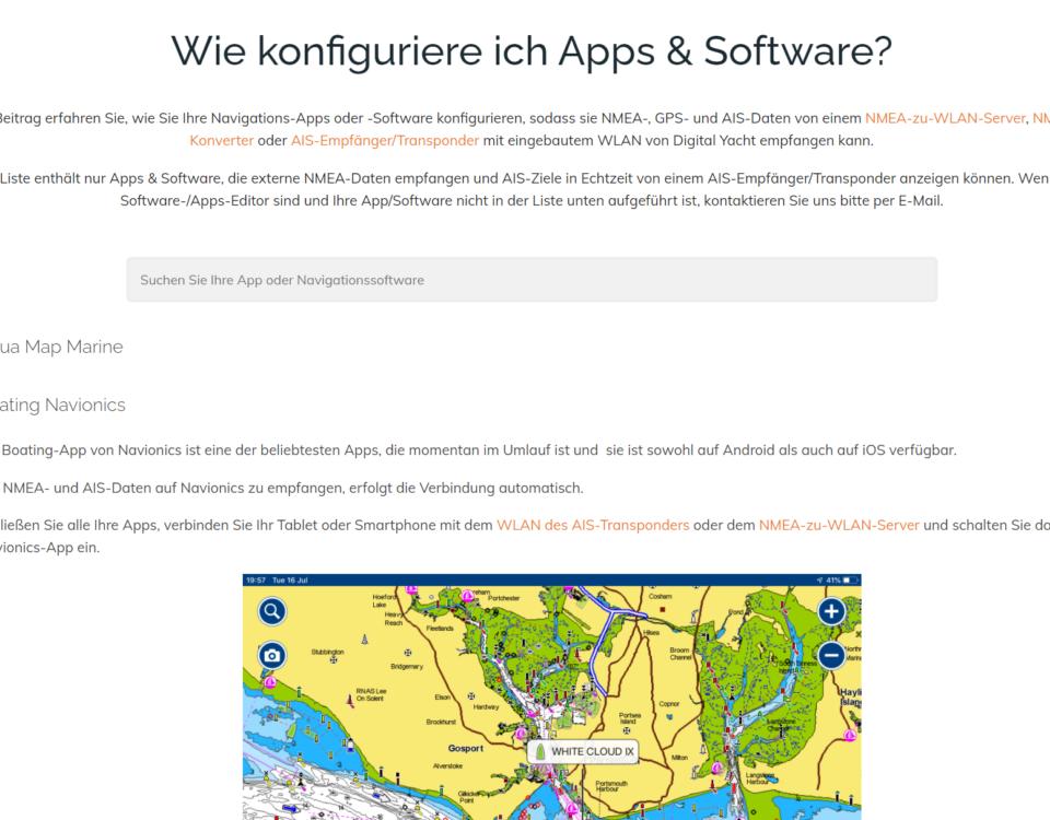 navigations apps/software konfigurieren