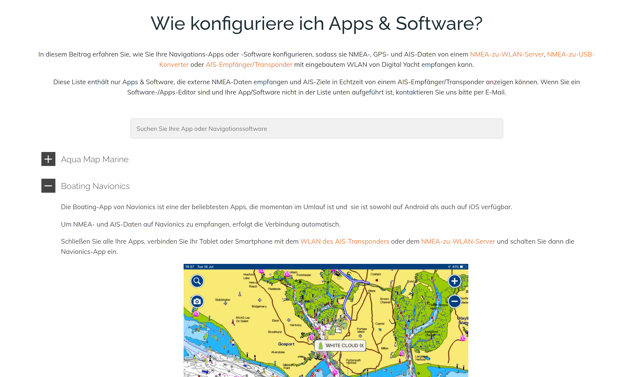 Konfiguration Navigations-Apps/-Software